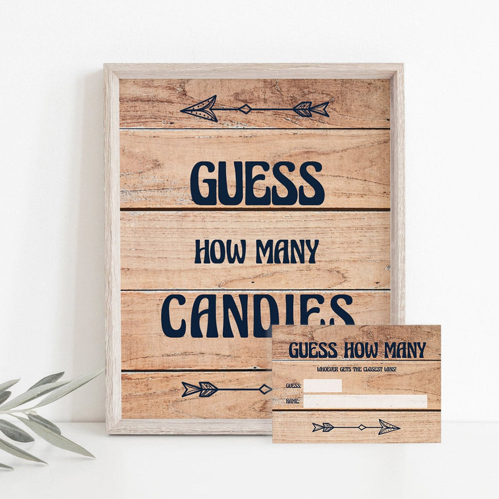 Rustic Baby Shower Guessing Games Printables