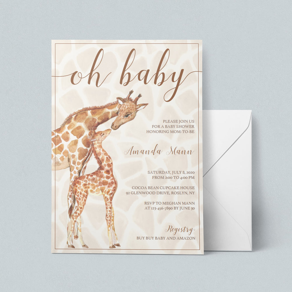 Glam safari baby shower invitation template by LittleSizzle