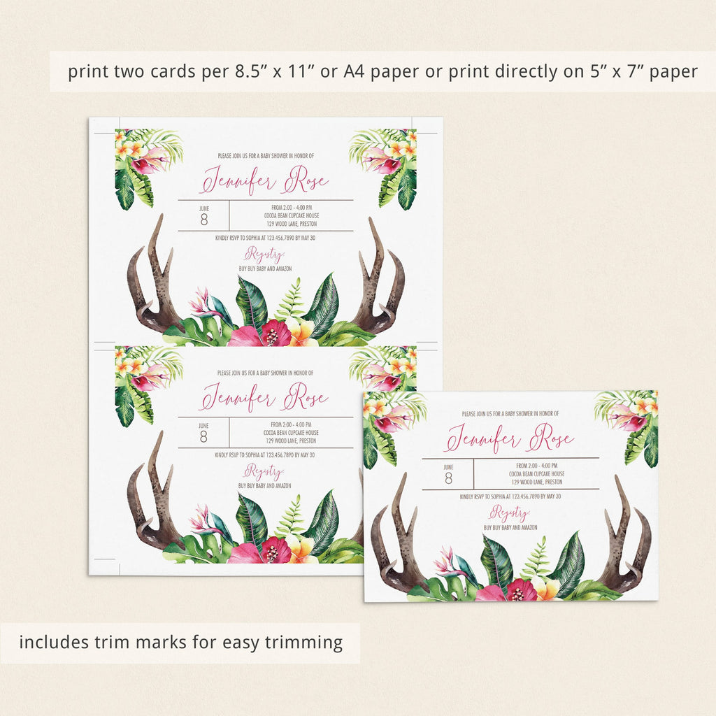 Boho Girl baby shower invitation template by LittleSizzle
