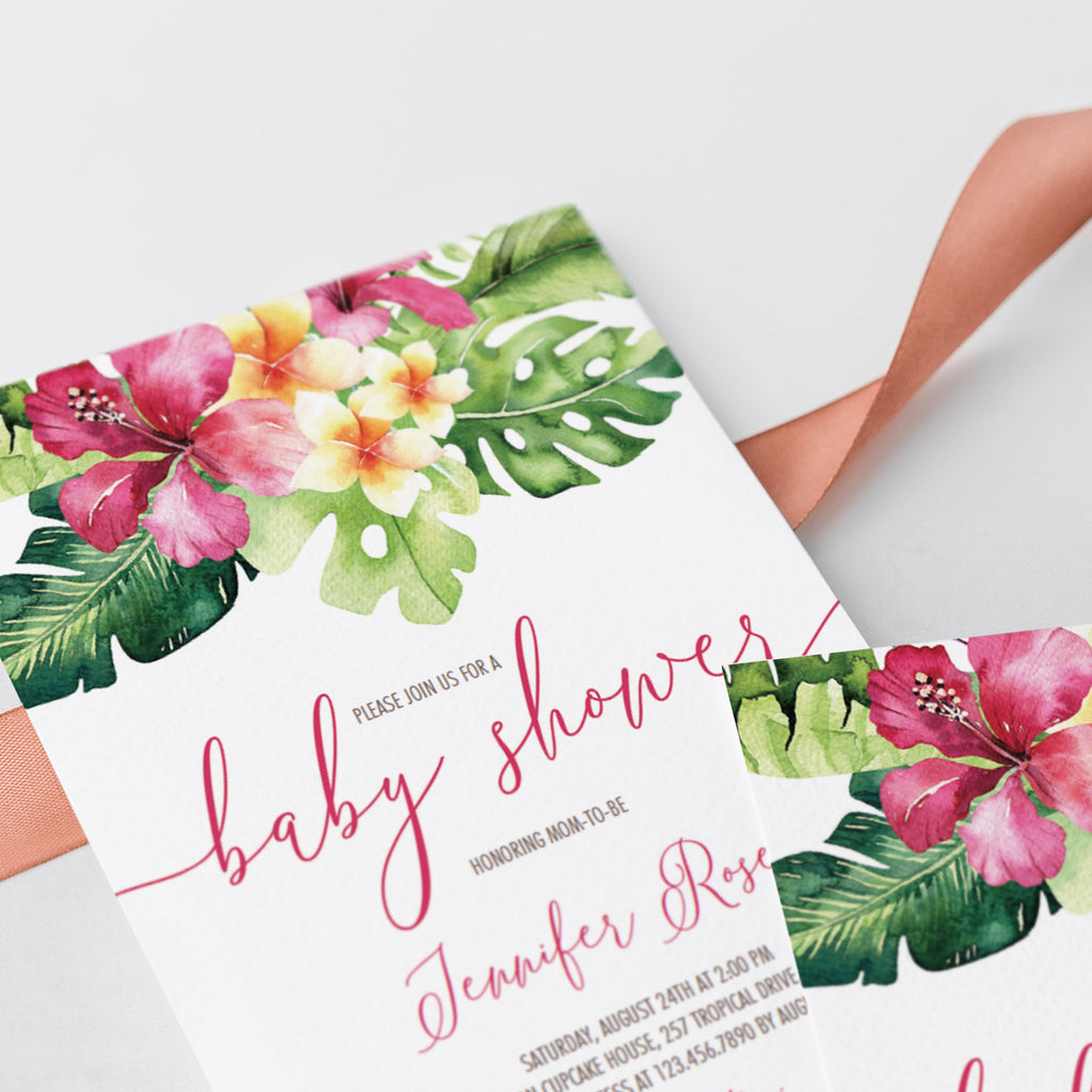 Tropical Baby Shower Invitation PDF Template by LittleSizzle