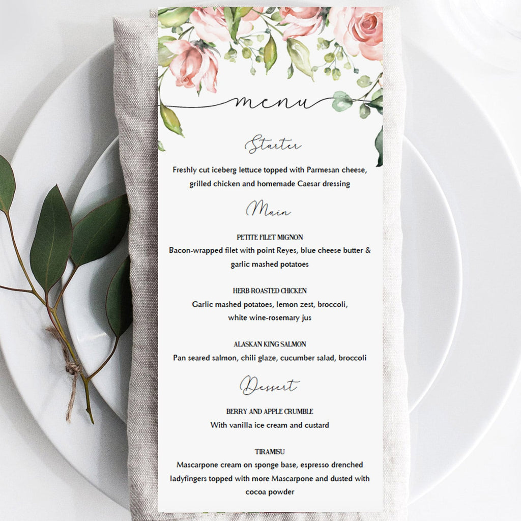 Floral baby brunch menu cards DIY by LittleSizzle