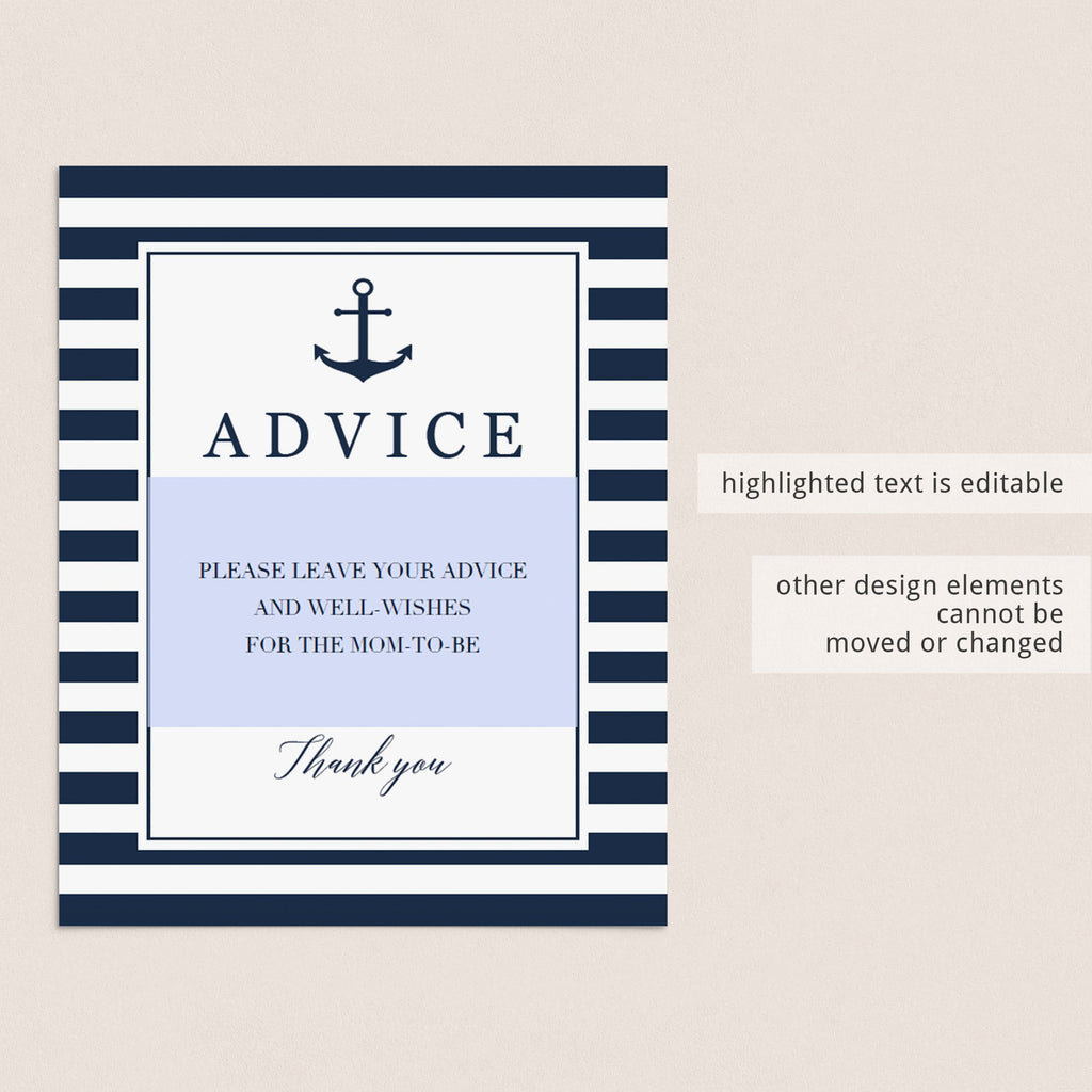 Nautical leave your advice sign template by LittleSizzle