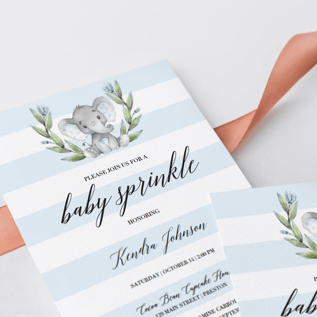 Elephant baby sprinkle invite template by LittleSizzle