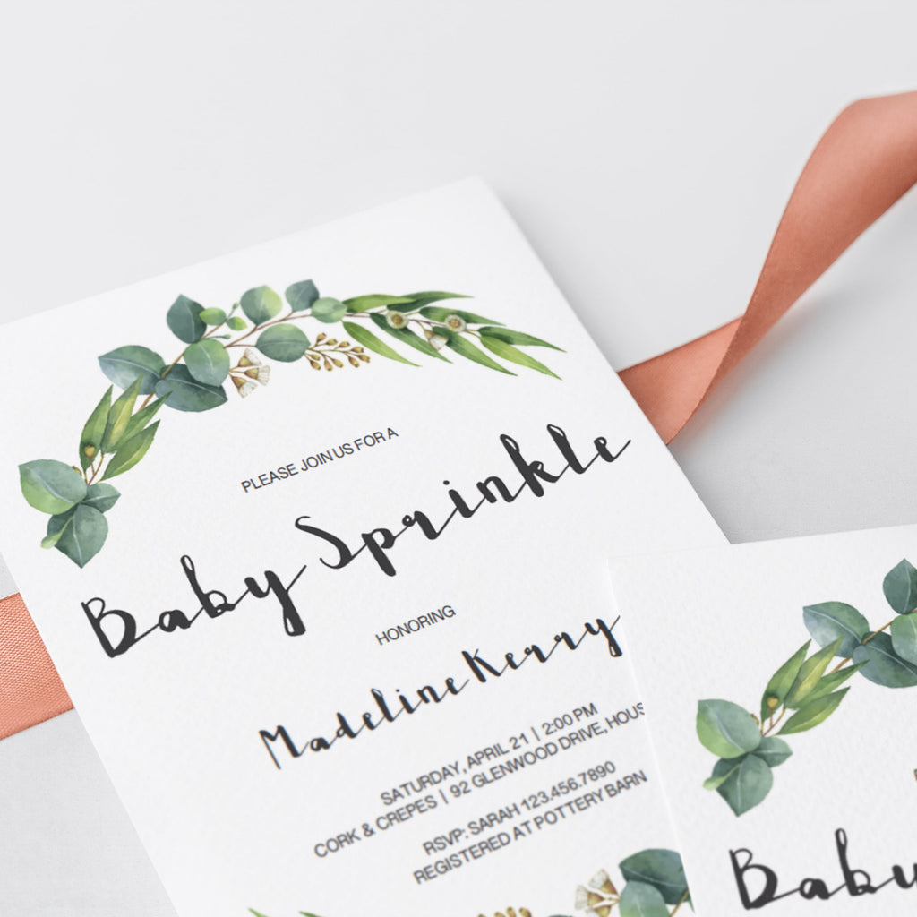 Botanical baby sprinkle invite template by LittleSizzle