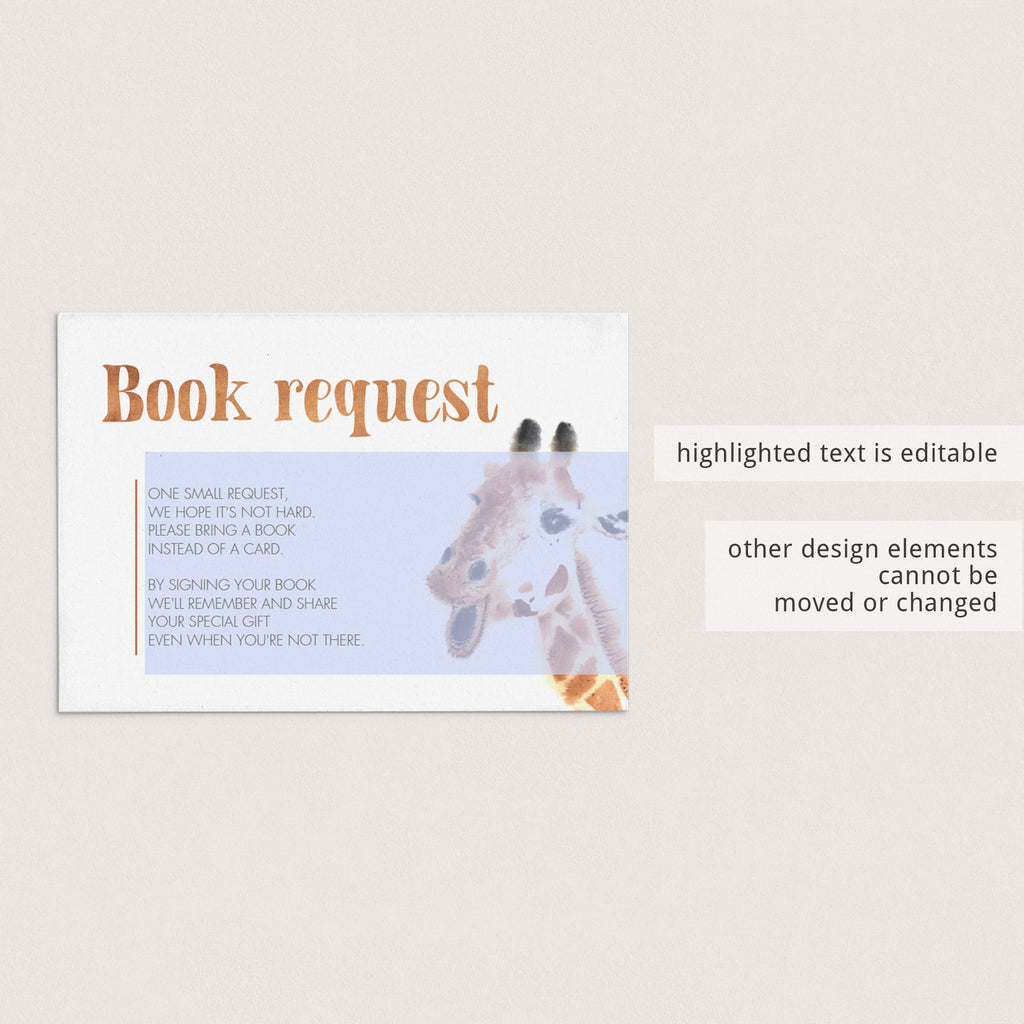 Giraffe Baby Shower Invitation Insert Template