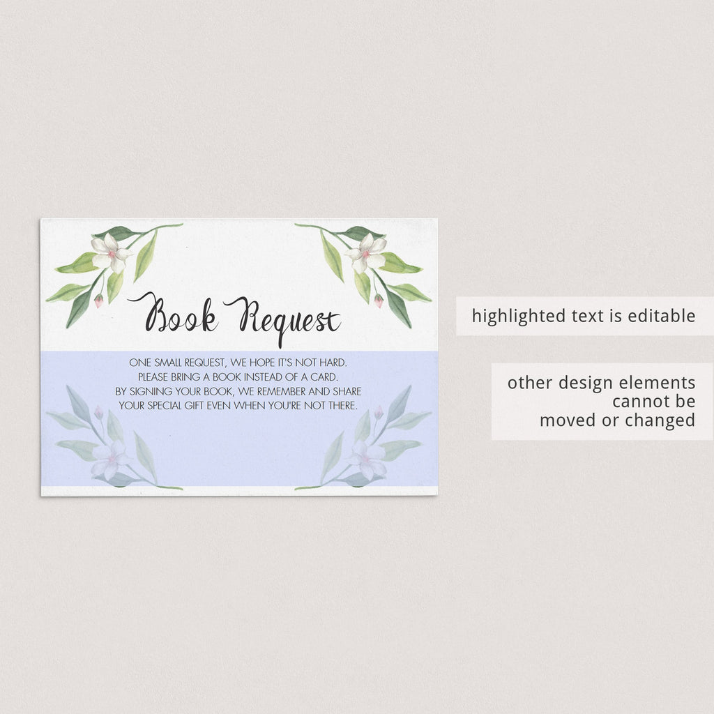 Instant download bring a book request card greenery by LittleSizzle