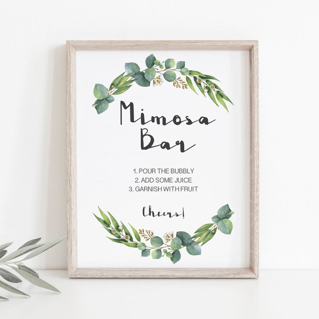 Watercolor eucalyptus baby shower decor by LittleSizzle