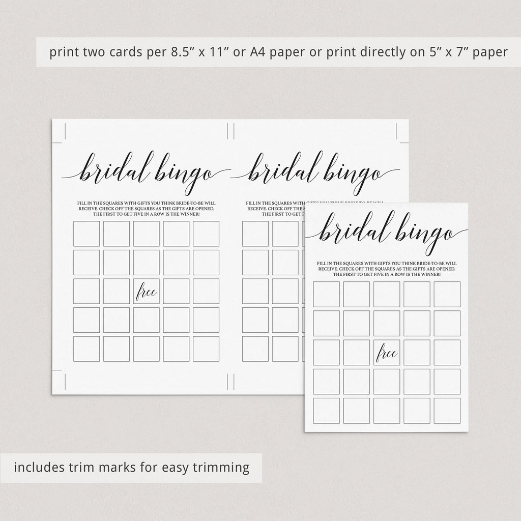 Simple bridal bingo cards printable by LittleSizzle