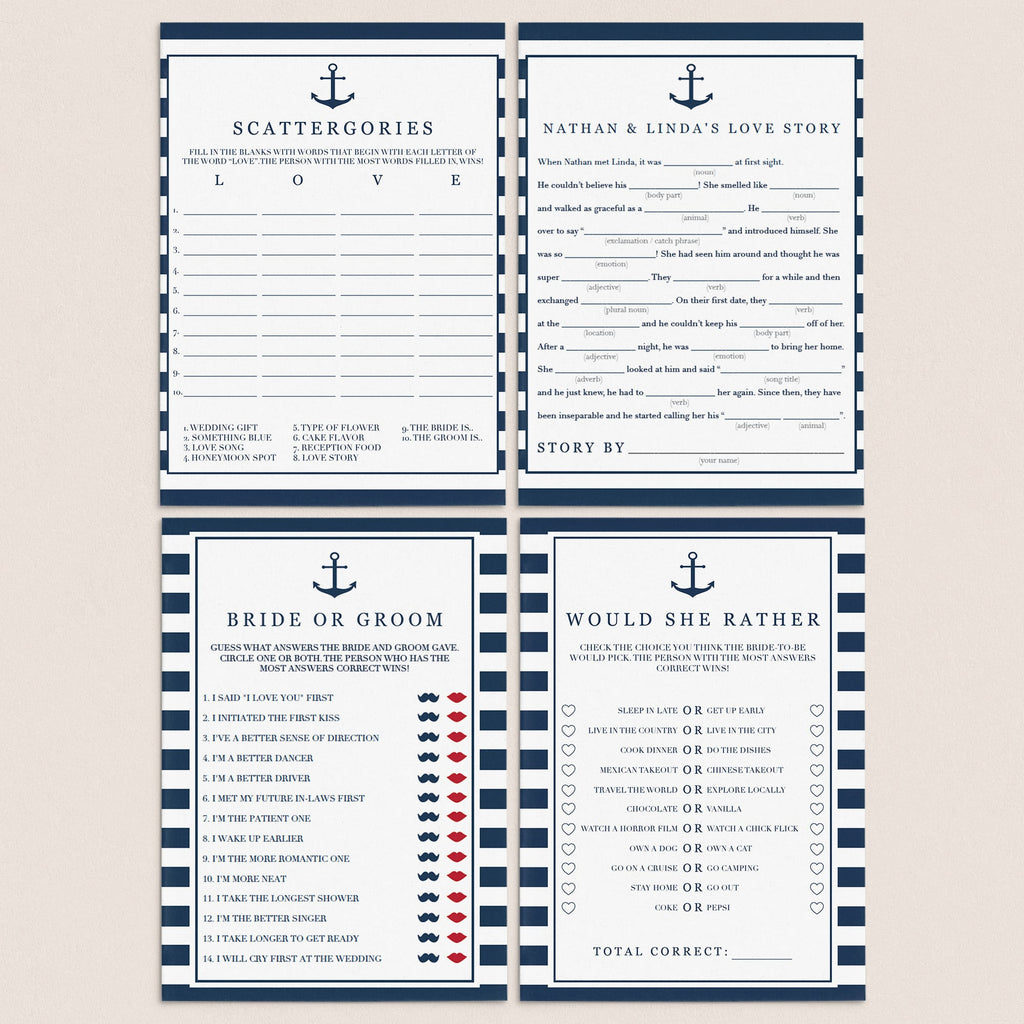 editable bridal shower games templates bundle by LittleSizzle