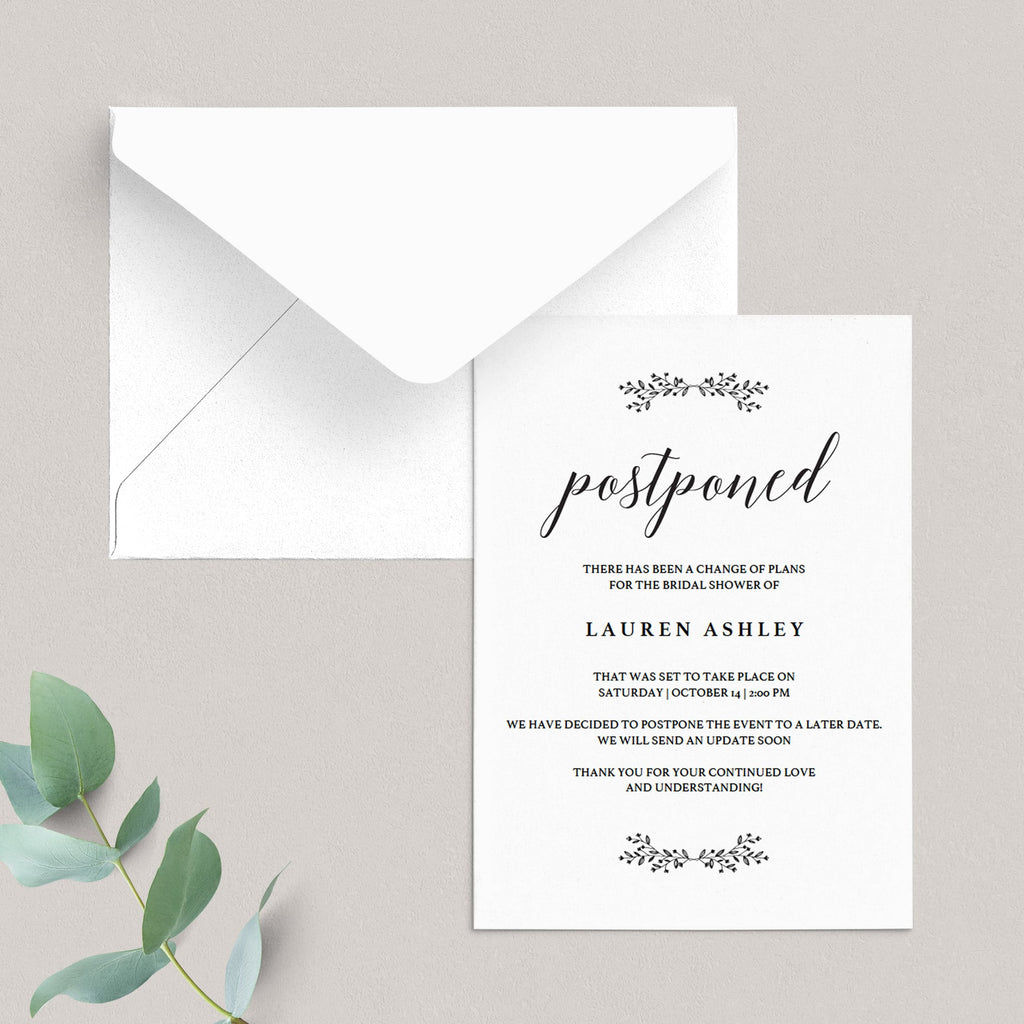Postponed bridal shower change the date card template by LittleSizzle