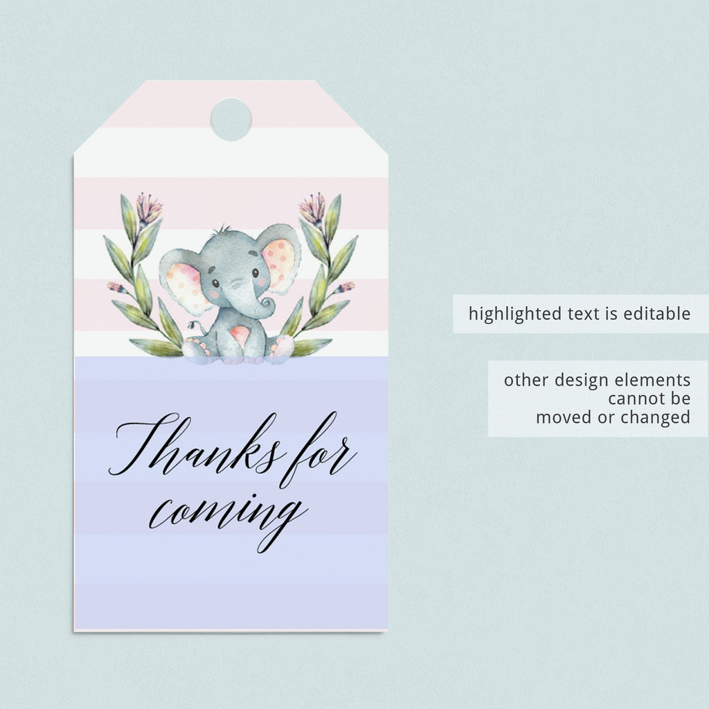 Pink Party Supplies Elephant Theme Instant Download