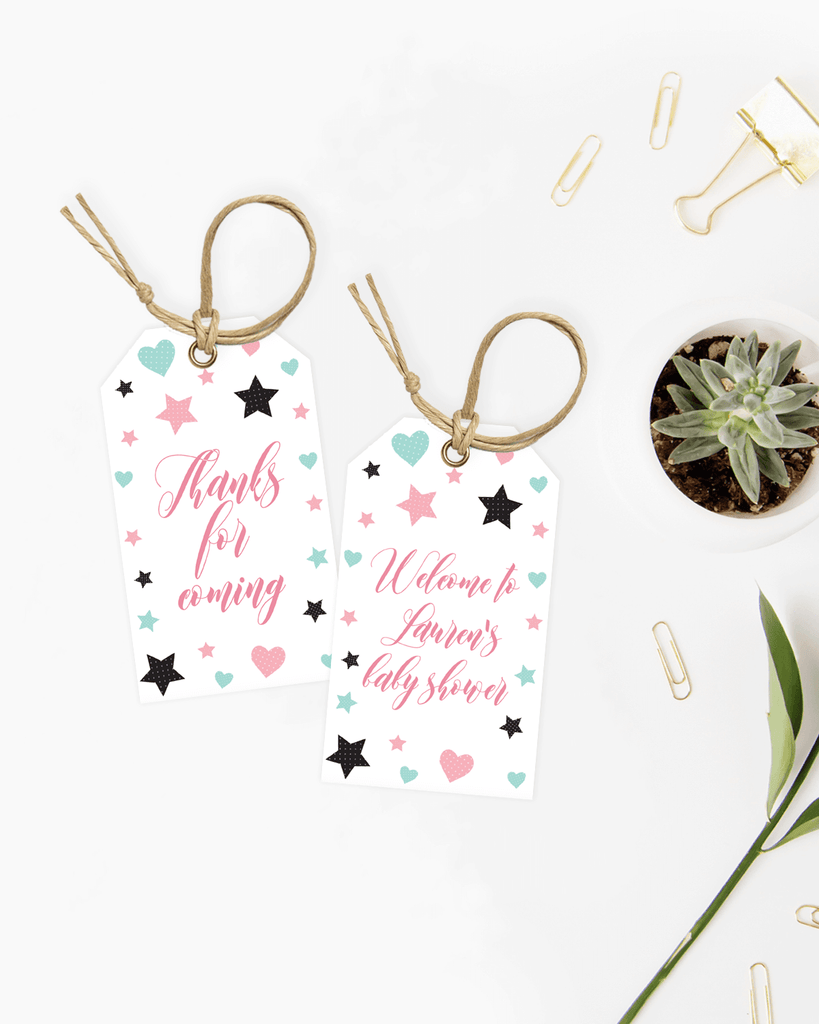 Printable girl shower favor tags by LittleSizzle