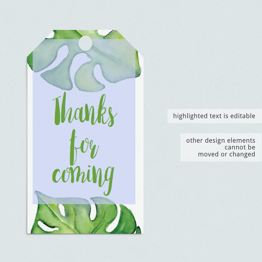 Editable green shower favor tag template by LittleSizzle