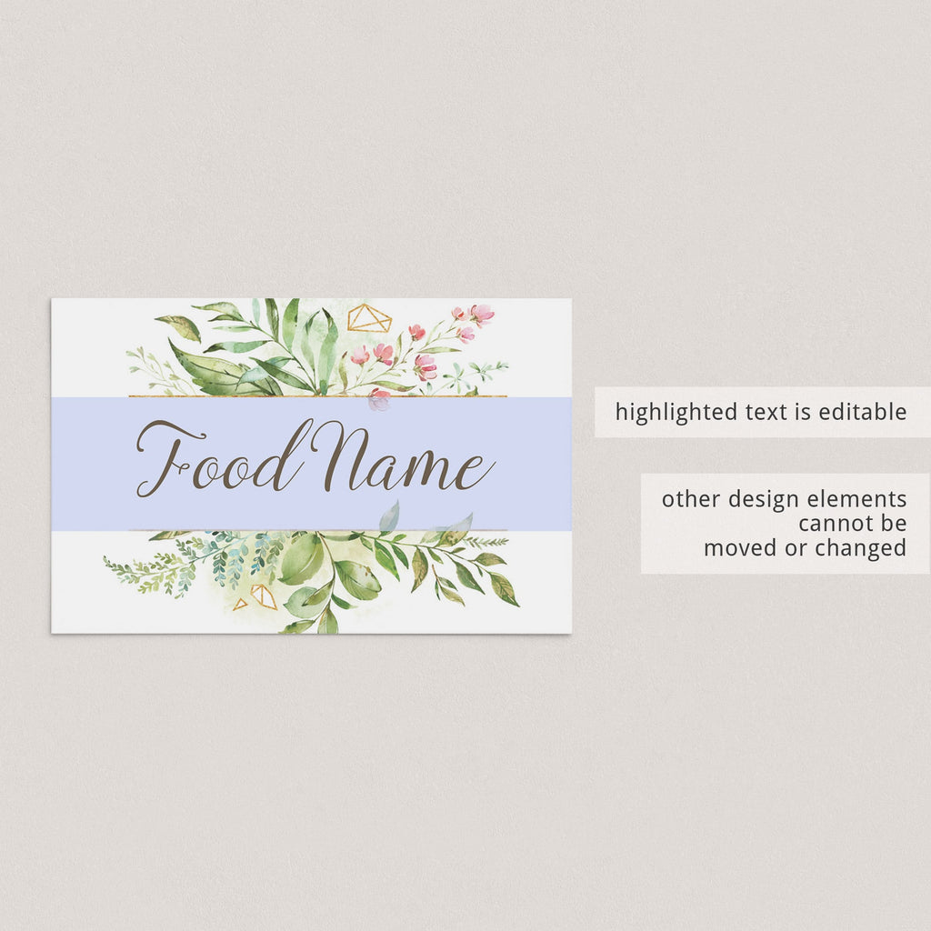 Editable food tent cards for garden baby shower by LittleSizzle