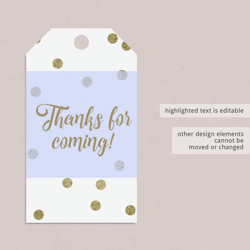 DIY favor tags download gold confetti by LittleSizzle