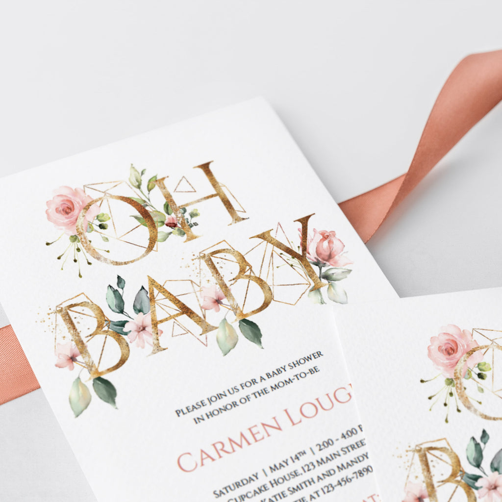 Oh Baby floral gold baby shower invitation download by LittleSizzle
