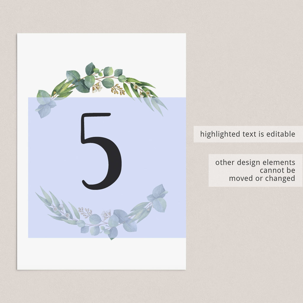 Printable table number cards botanical theme by LittleSizzle