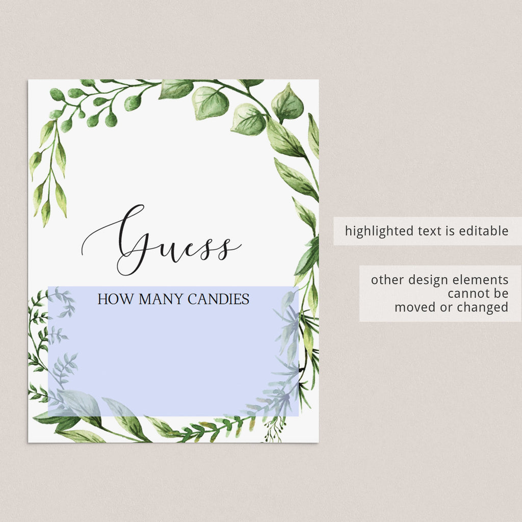 Guess how many baby shower table sign editable template by LittleSizzle