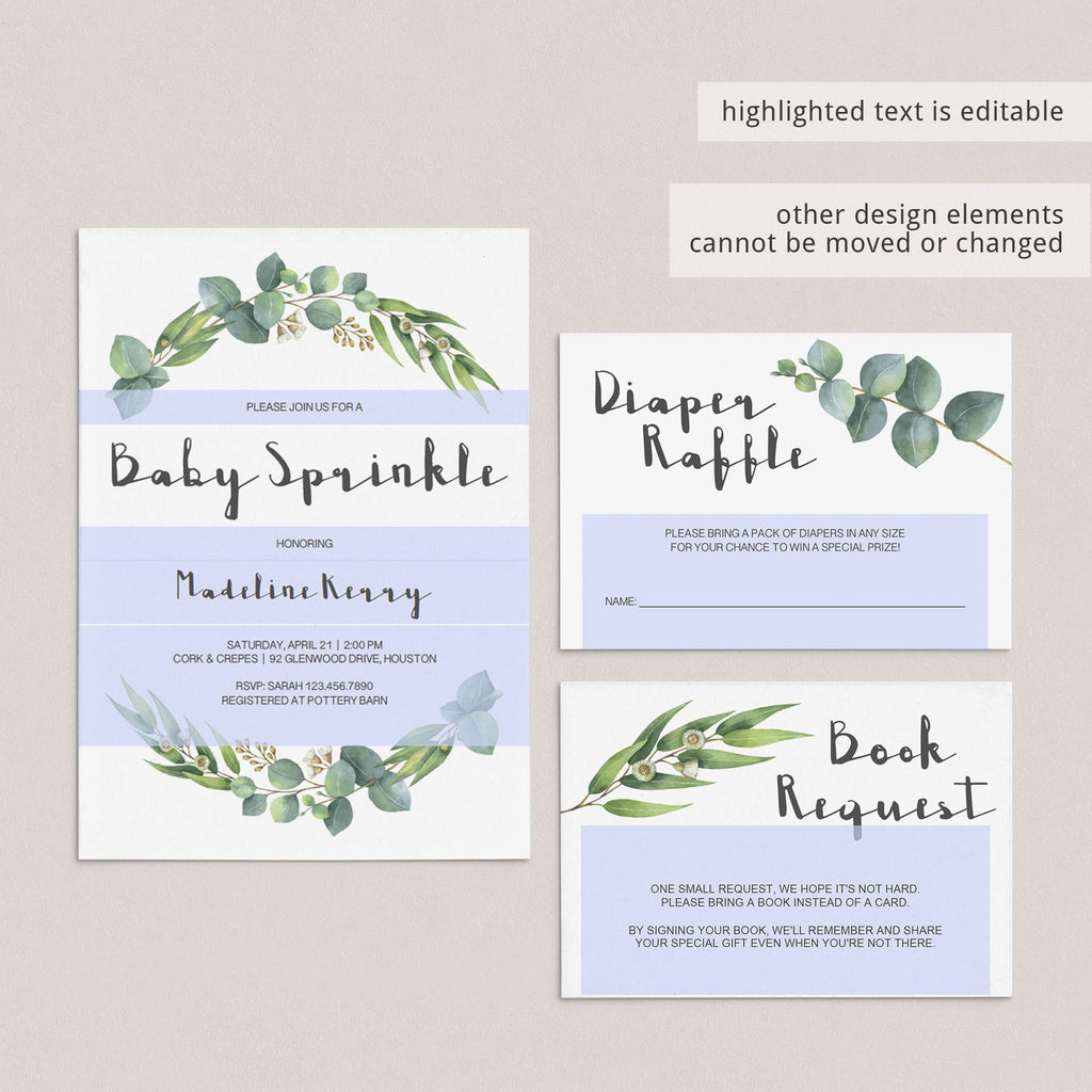 DIY baby sprinkle invite instant download botanical theme by LittleSizzle