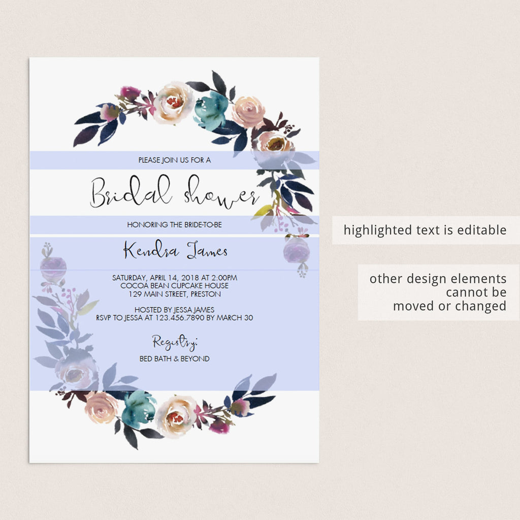 editable invitation template for bridal showers