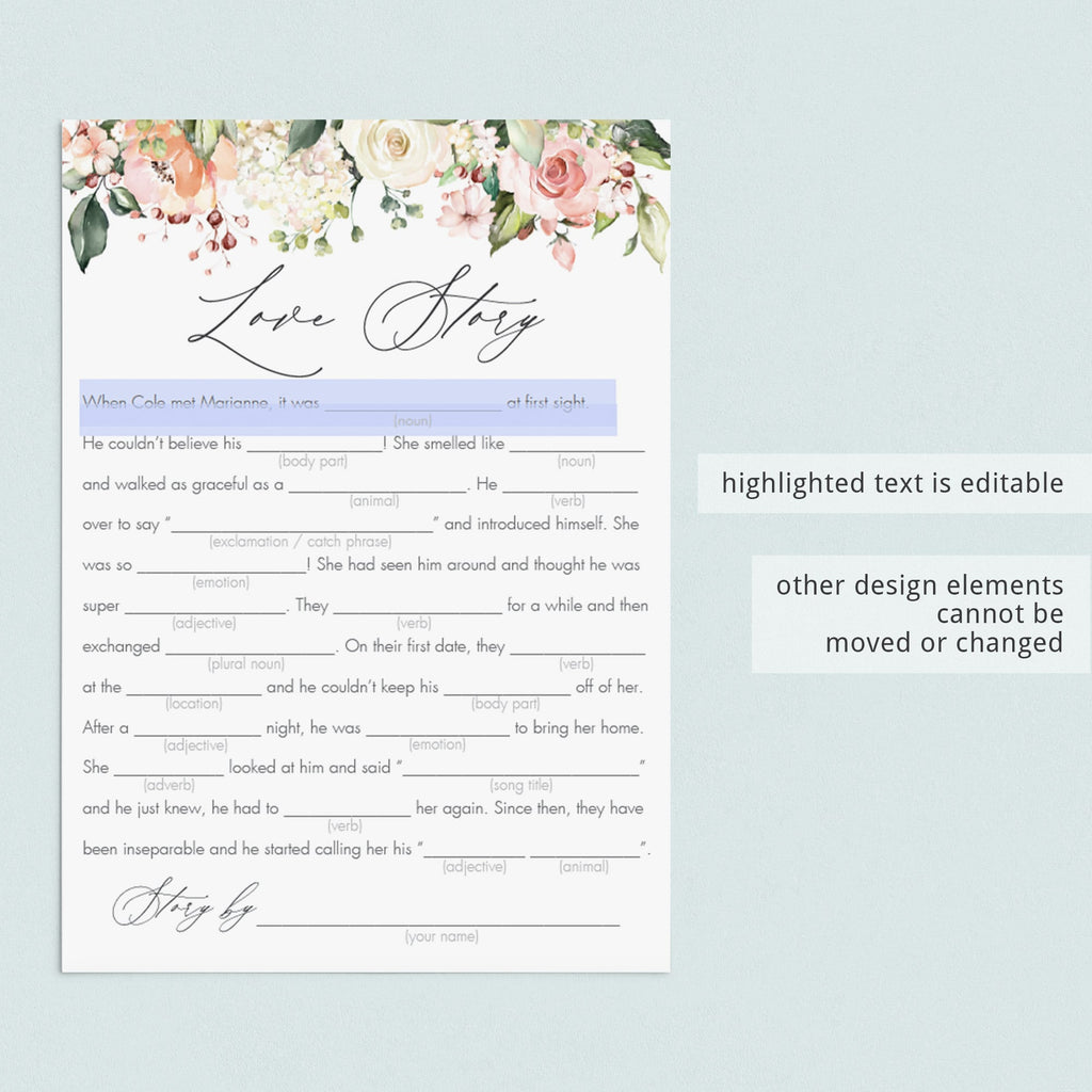 Editable bridal party game love story mad libs in bundle by LittleSizzle