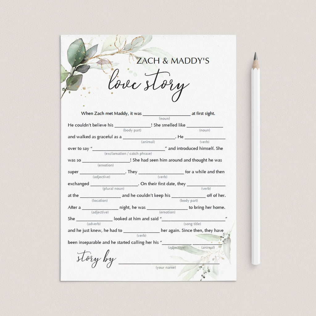 printable green love story mad libs bridal game by LittleSizzle