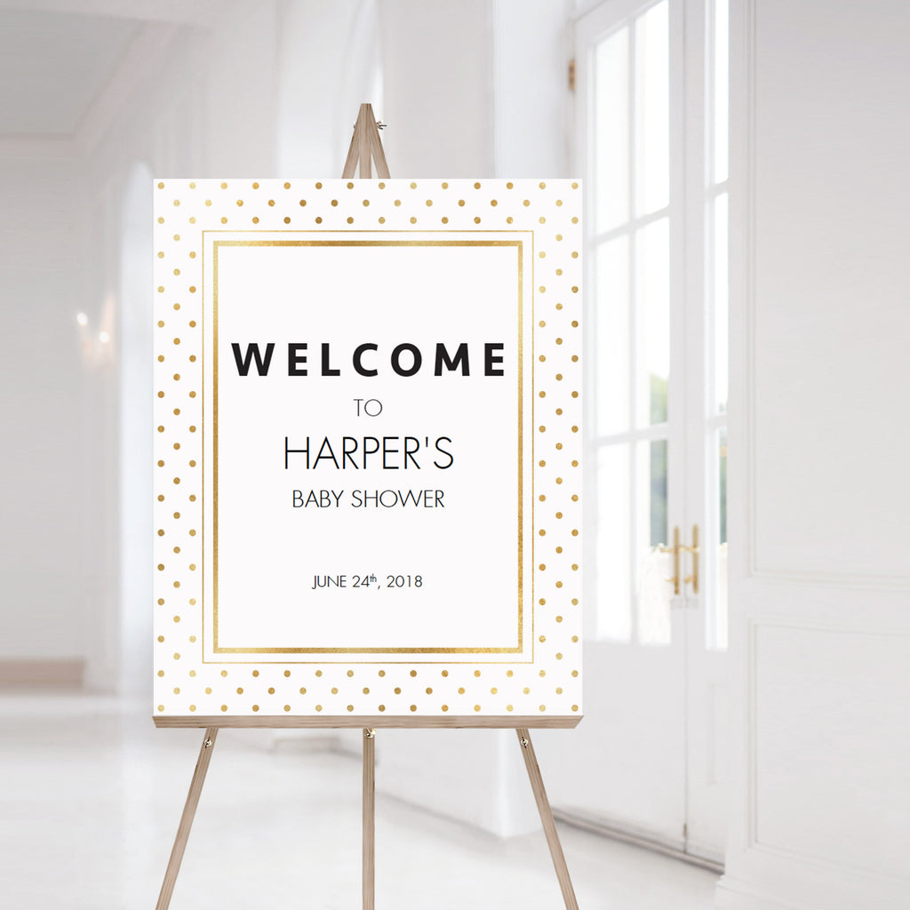 Modern gold shower welcome sign printable by LittleSizzle
