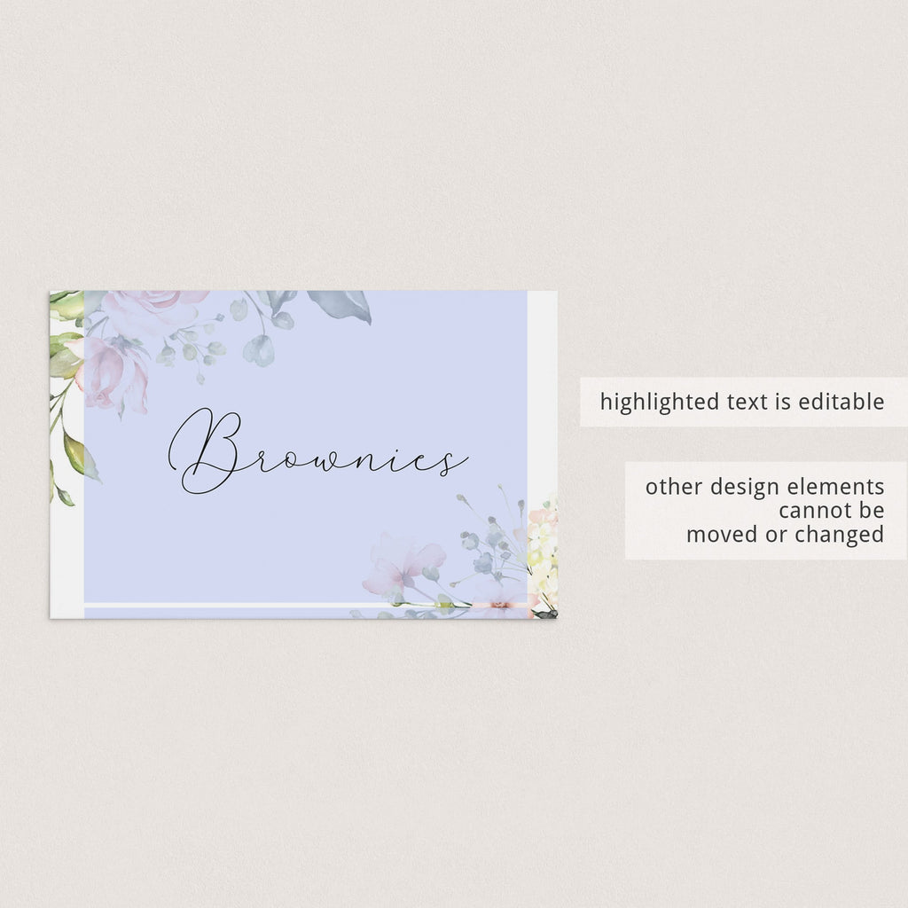 DIY food tent cards floral baby shower party by LittleSizzle