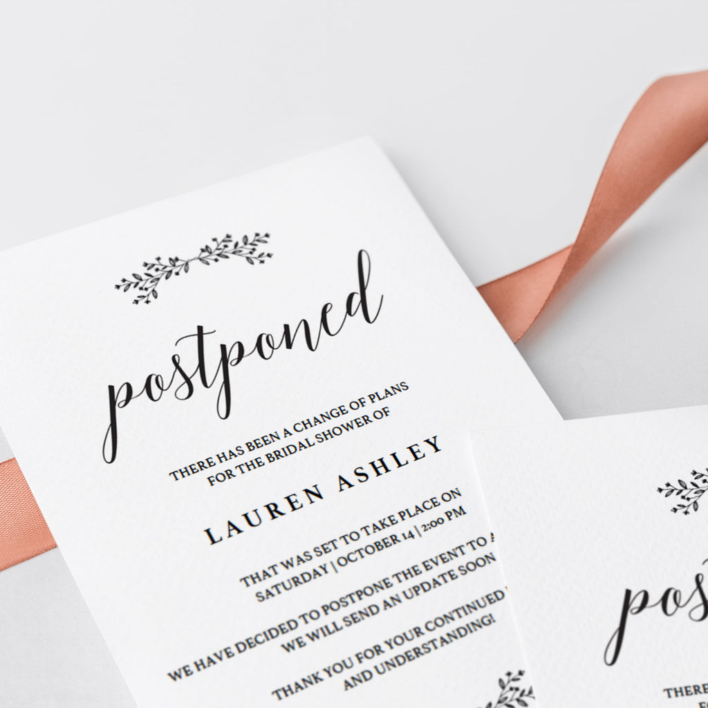 Black and white minimal bridal shower change the date template by LittleSizzle