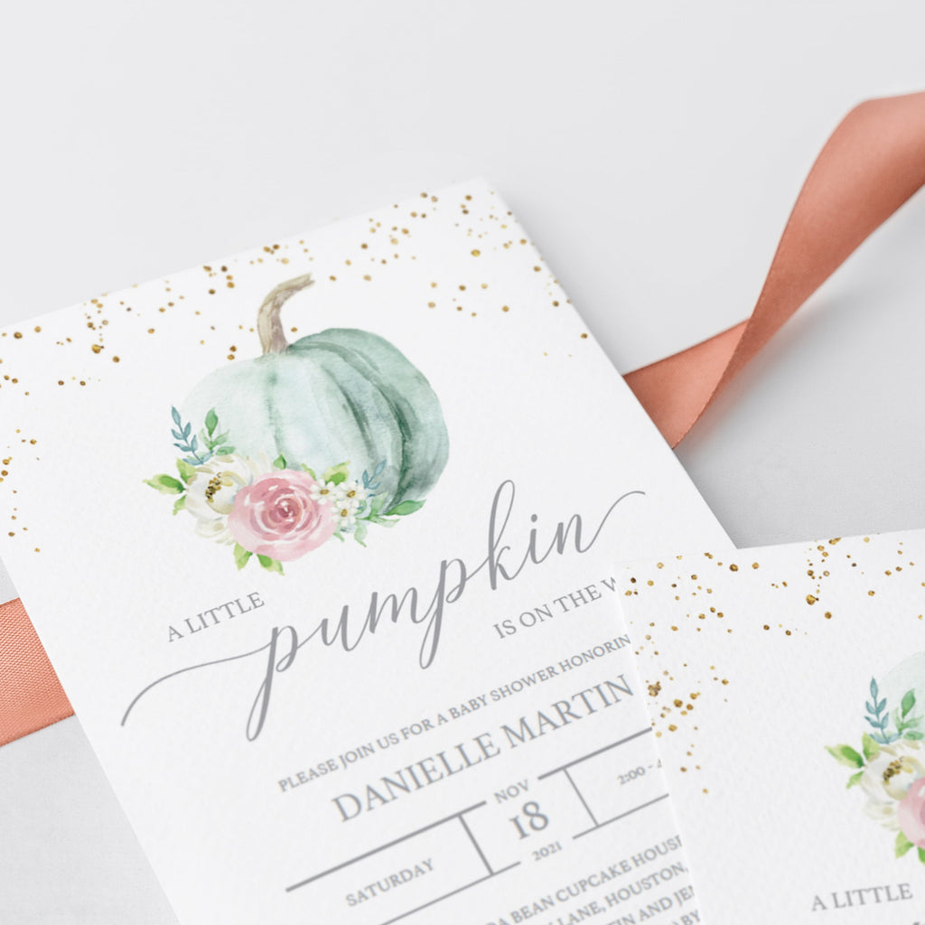 Watercolor floral pumpkin baby shower decor by LittleSizzle