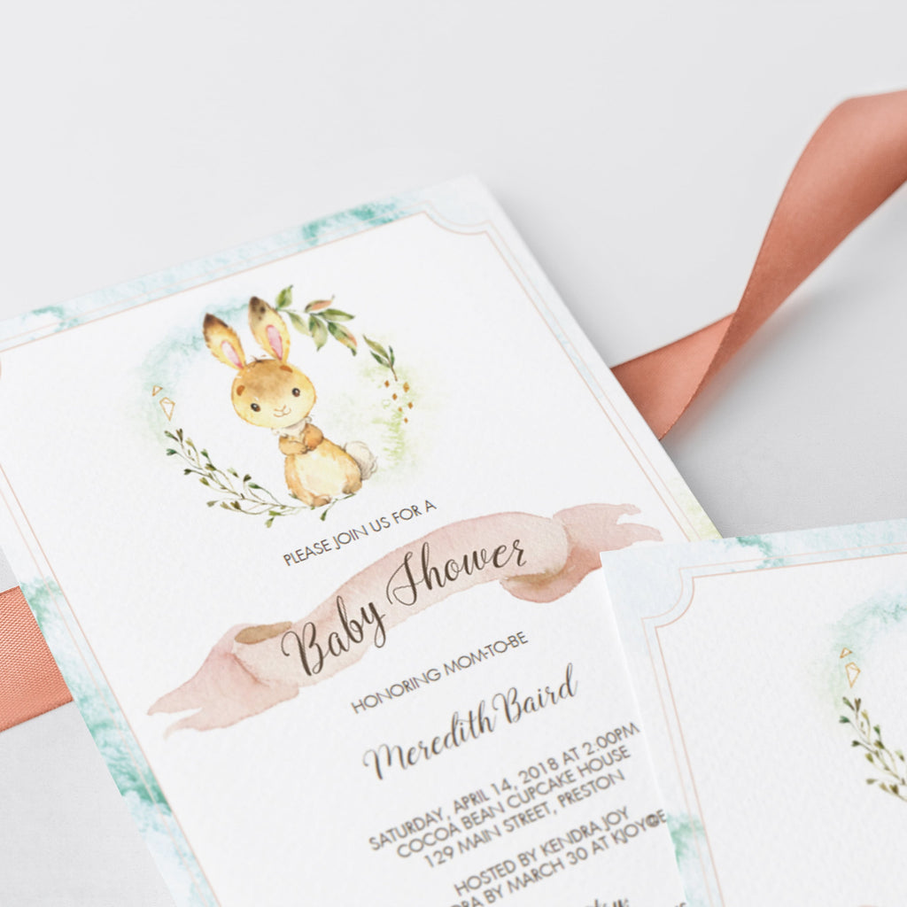 Rabbit animals baby shower invite template by LittleSizzle