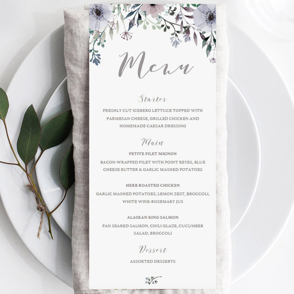 Purple menu cards by LittleSizzle