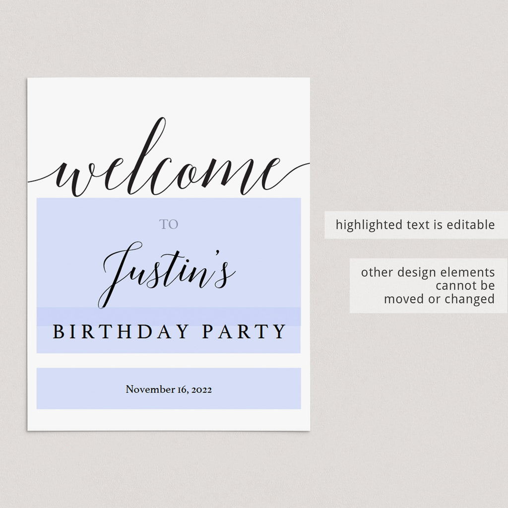 Minimal birthday decorations editable templates by LittleSizzle