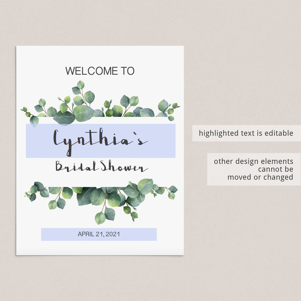 editable welcome sign for bridal shower greenery theme