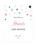 Pink baby shower welcome sign printable by LittleSizzle