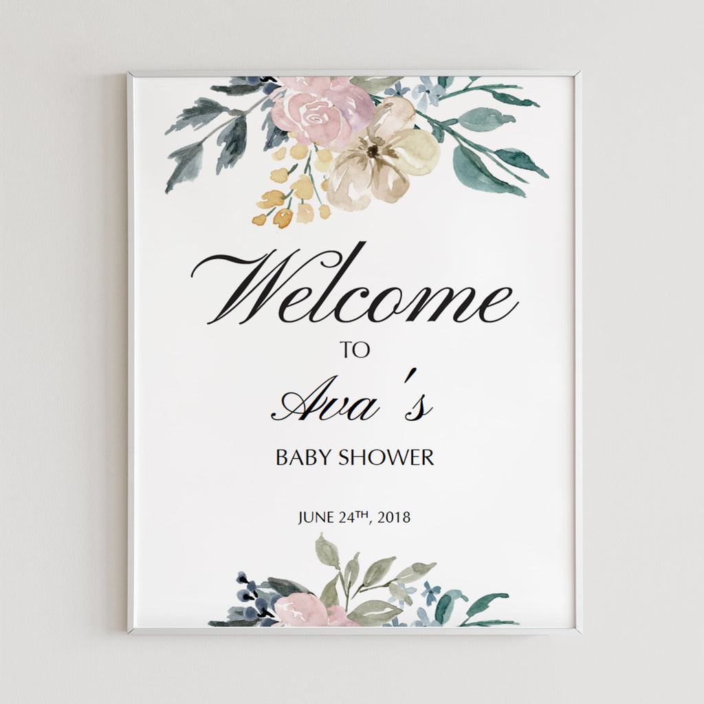 Printable welcome sign for floral themed shower by LittleSizzle