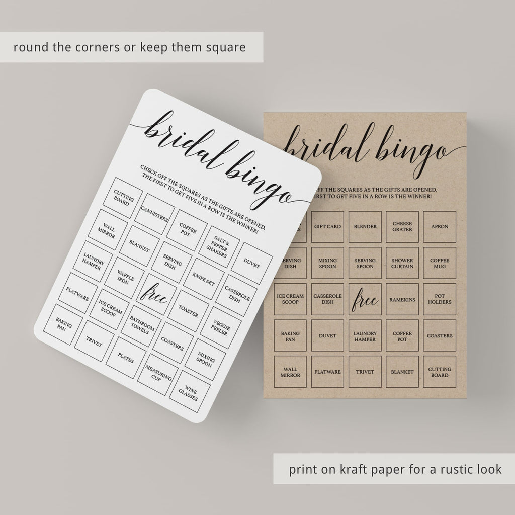 Rustic bridal bingo cards by LittleSizzle