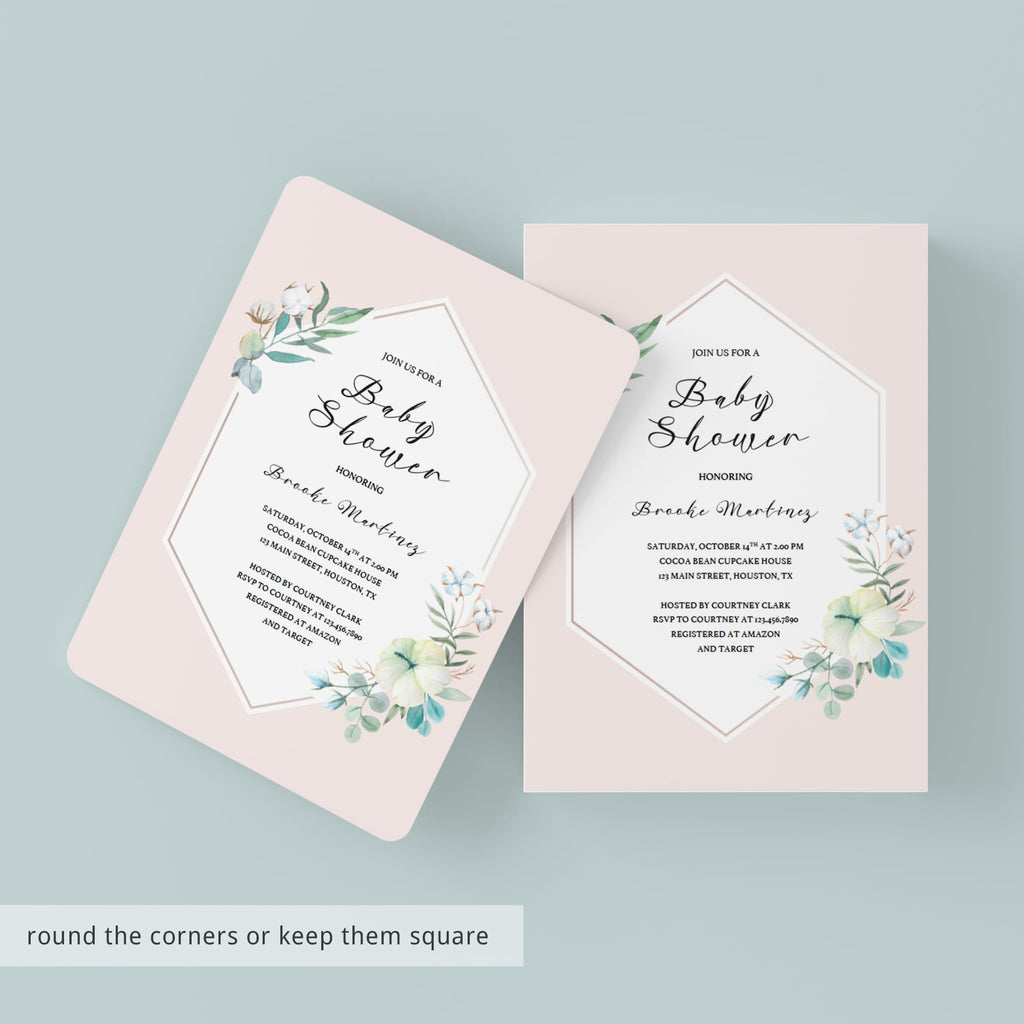 Watercolor flowers on blush baby sprinkle invitation by LittleSizzle