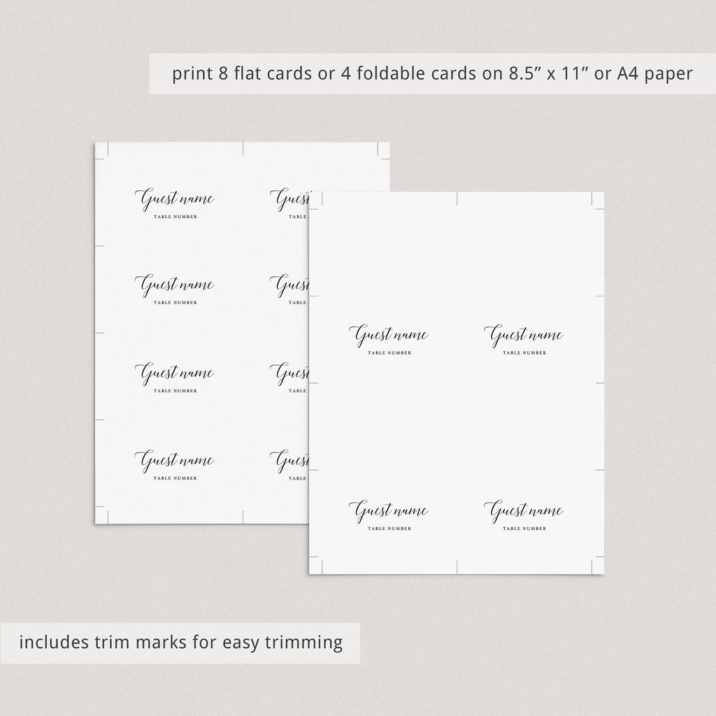 Calligraphy Dinner Party Seating Cards Template