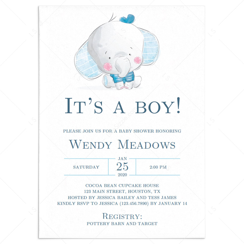 Boy elephant baby shower invitation template by LittleSizzle