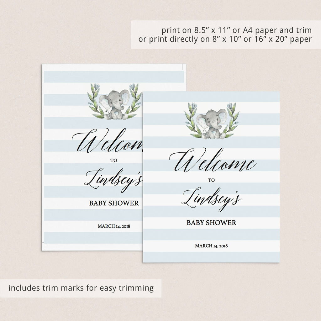 Blue and white stripes baby shower welcome sign printable by LittleSizzle