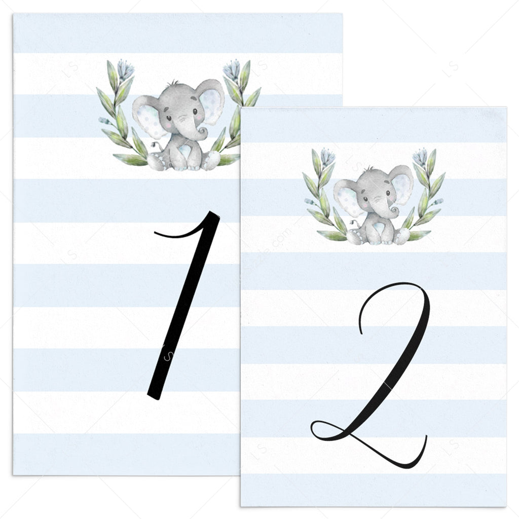 Elephant themed party decor printable table number cards by LittleSizzle