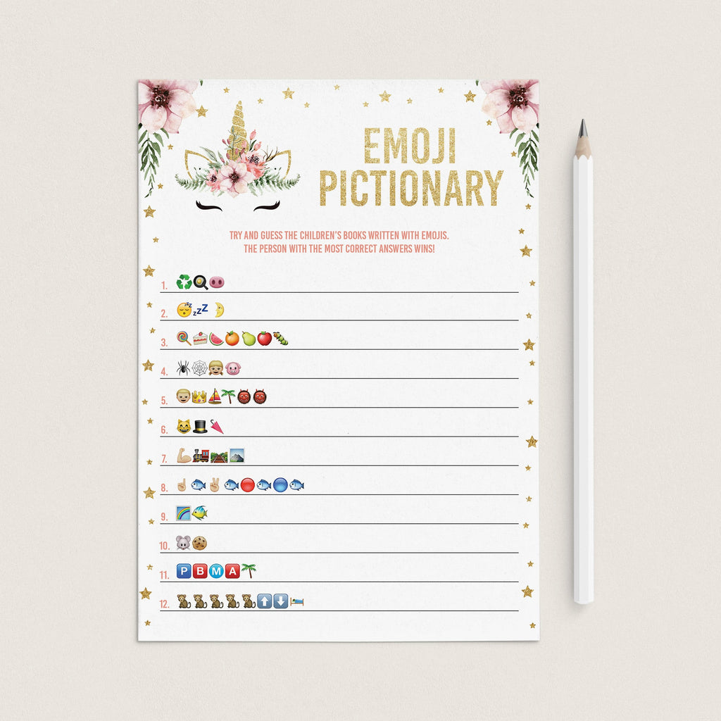 Pink and white baby shower emoji pictionary printable game by LittleSizzle