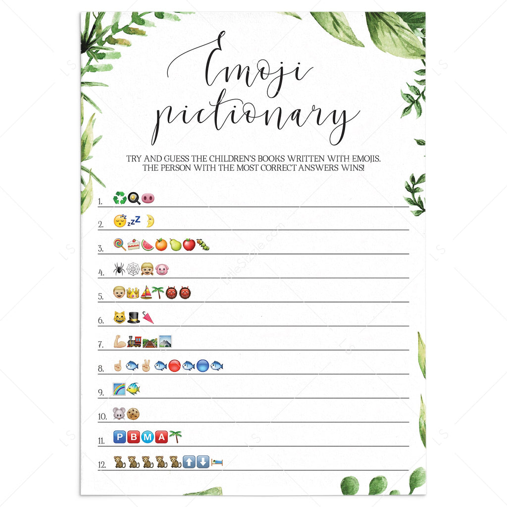 Emoji pictionary childrens books baby shower game printable by LittleSizzle