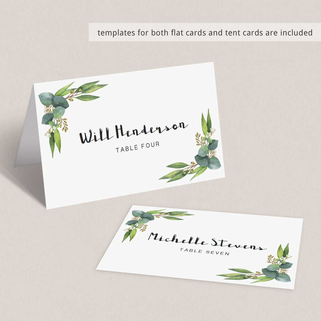 custom wedding place cards templates