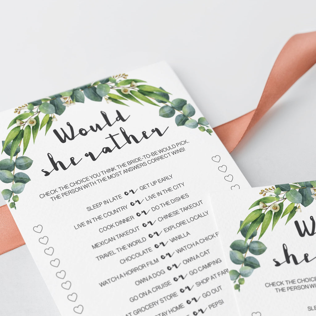 eucalyptus bridal shower games printable would she rather