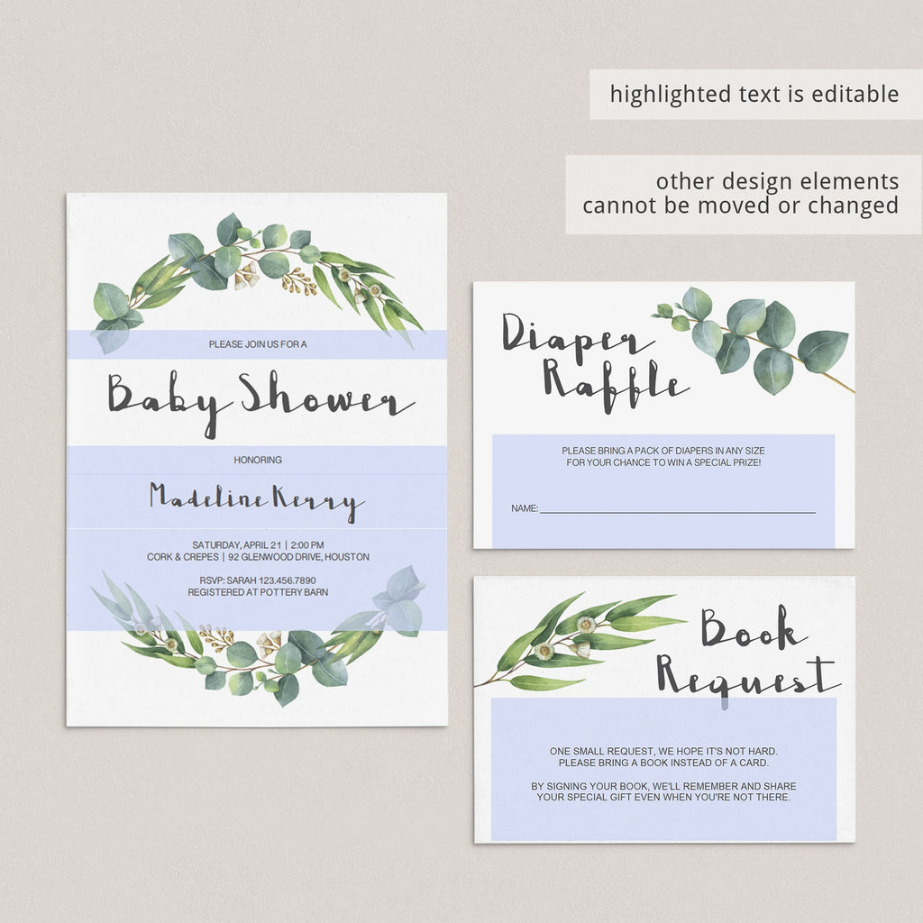 Personalized neutral green baby shower party templates by LittleSizzle