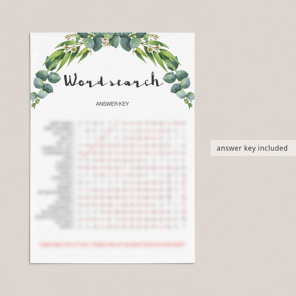 Baby Shower Word Search Game with Green Leaves