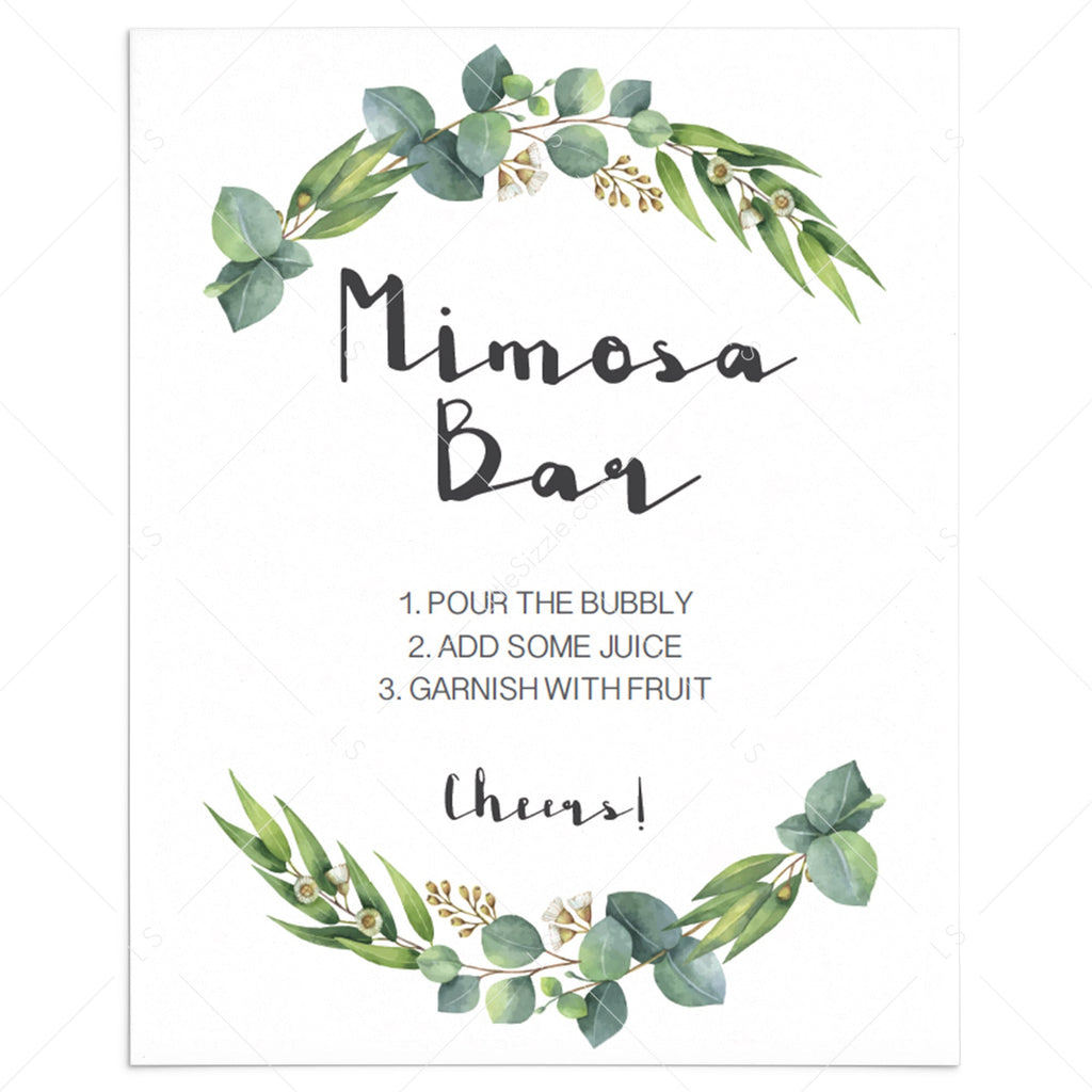 Mimosa Bar sign printable with watercolor leaves by LittleSizzle