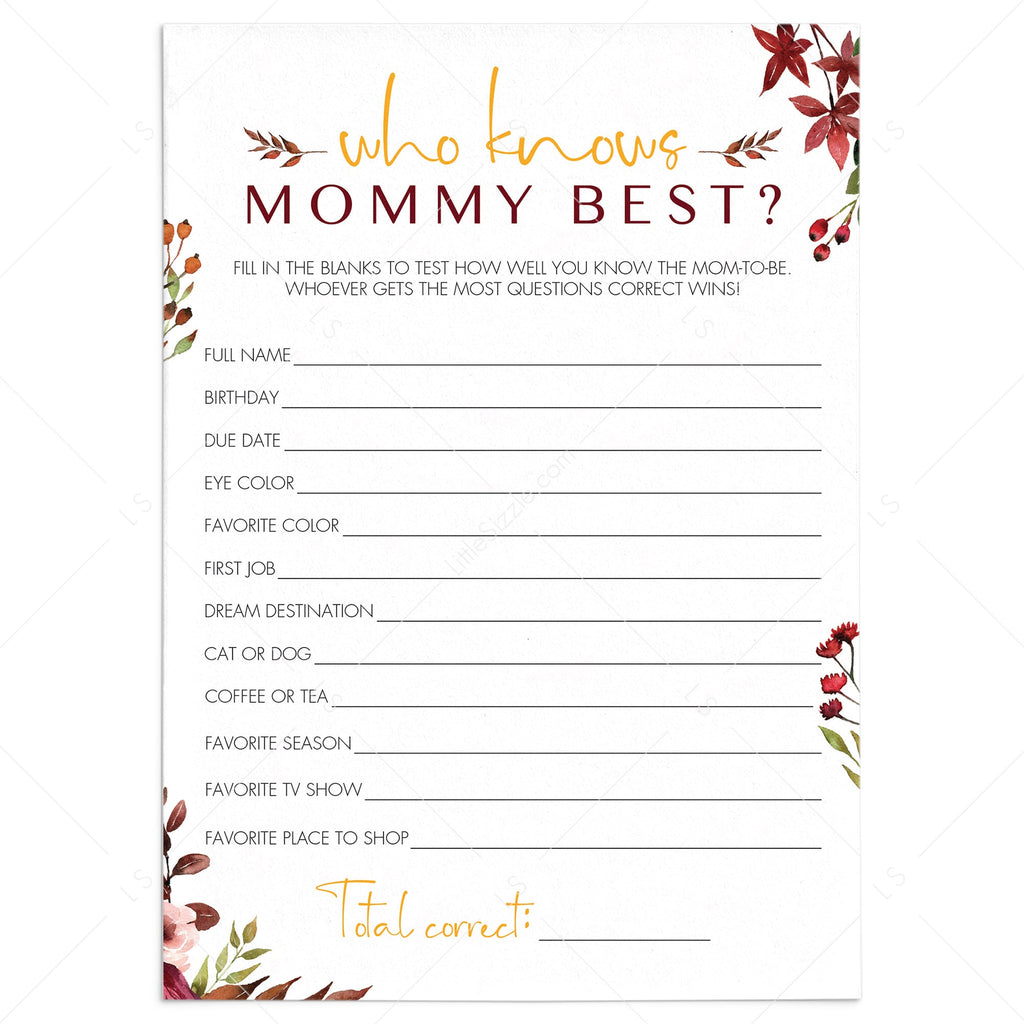 Burgundy baby shower game who knows mom best by LittleSizzle